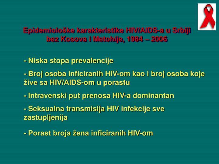 Epidemiološke karakteristike HIV/AIDS-a u
