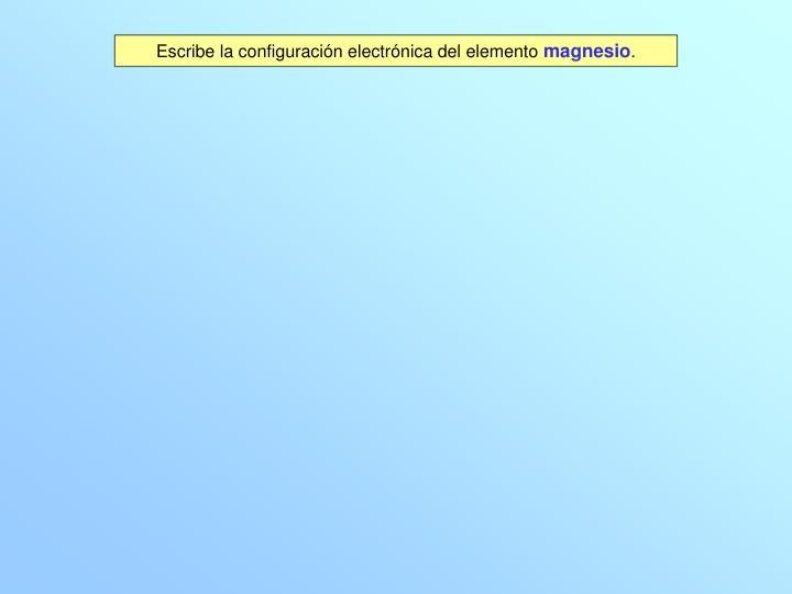 Escribe la configuración electrónica del elemento