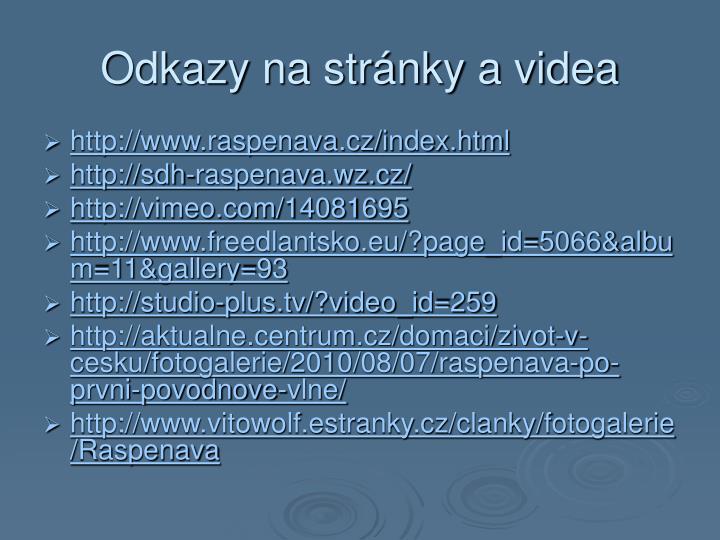 Odkazy na stránky a videa