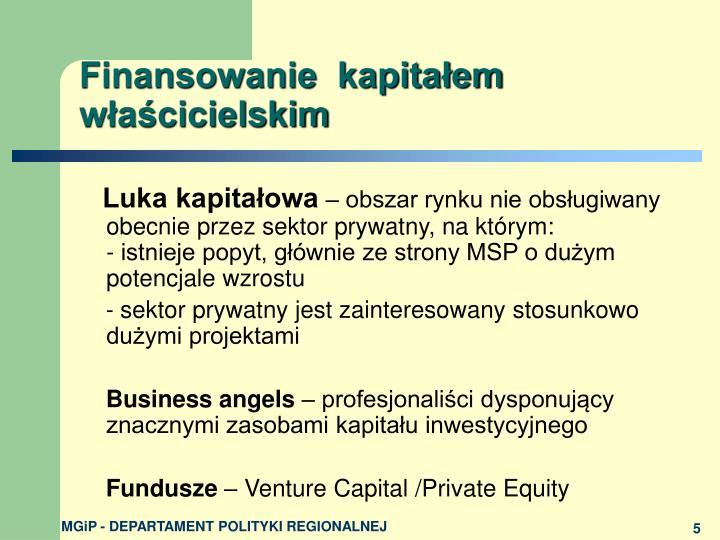 Finansowanie  kapitałem właścicielskim
