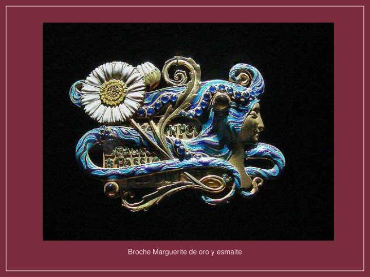 Broche Marguerite de oro y esmalte