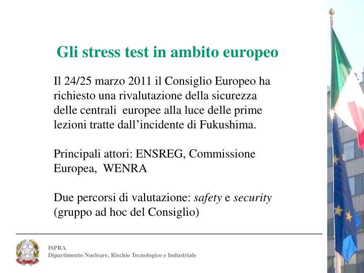 Gli stress test in ambito europeo