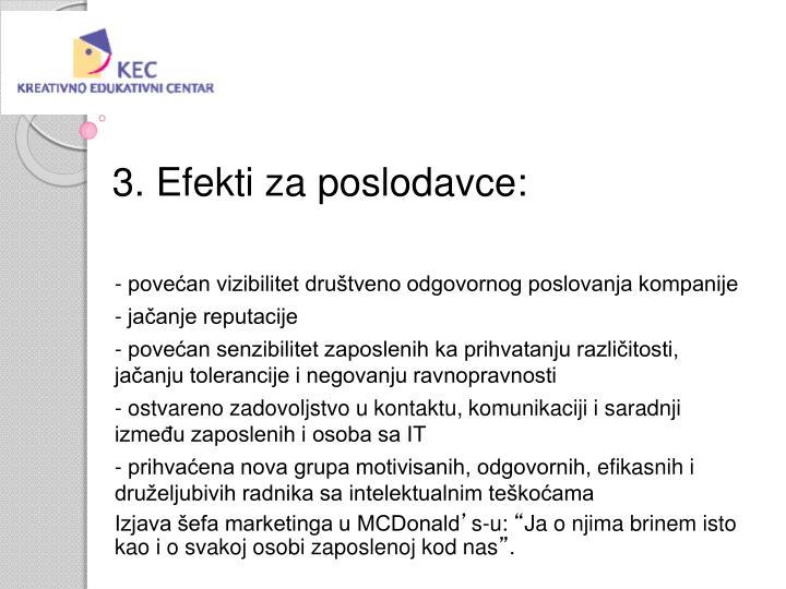 3. Efekti za poslodavce:
