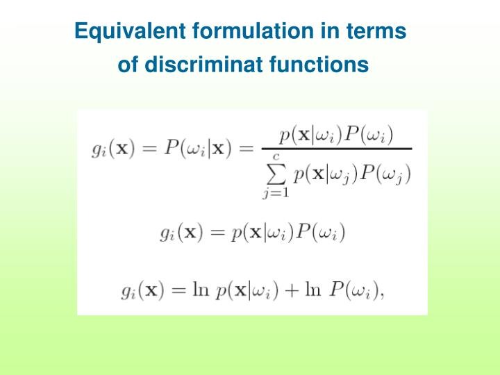 Equivalent formulation in terms