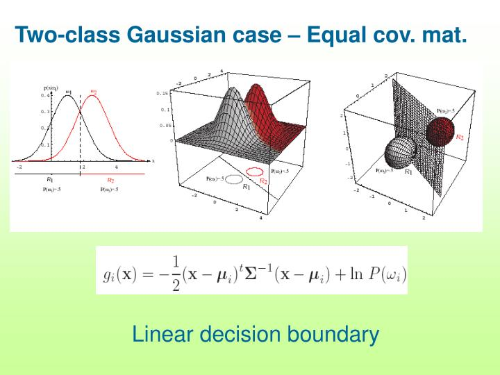 Two-class Gaussian case – Equal cov. mat.