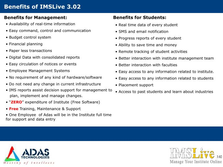 Benefits of IMSLive 3.02