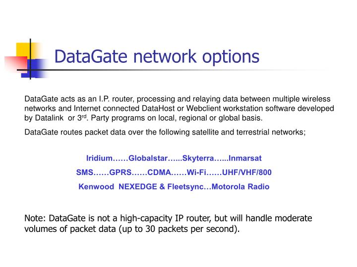 DataGate network options
