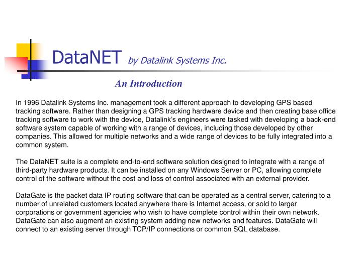 Datanet by datalink systems inc
