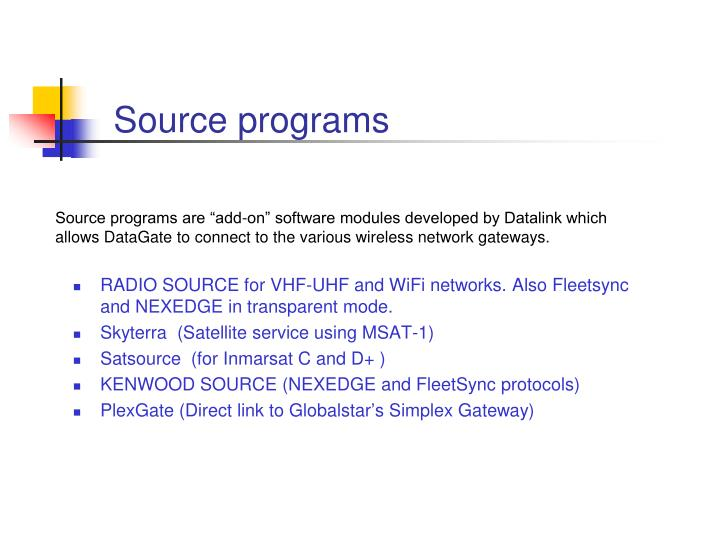 Source programs
