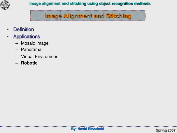 Image Alignment and Stitching