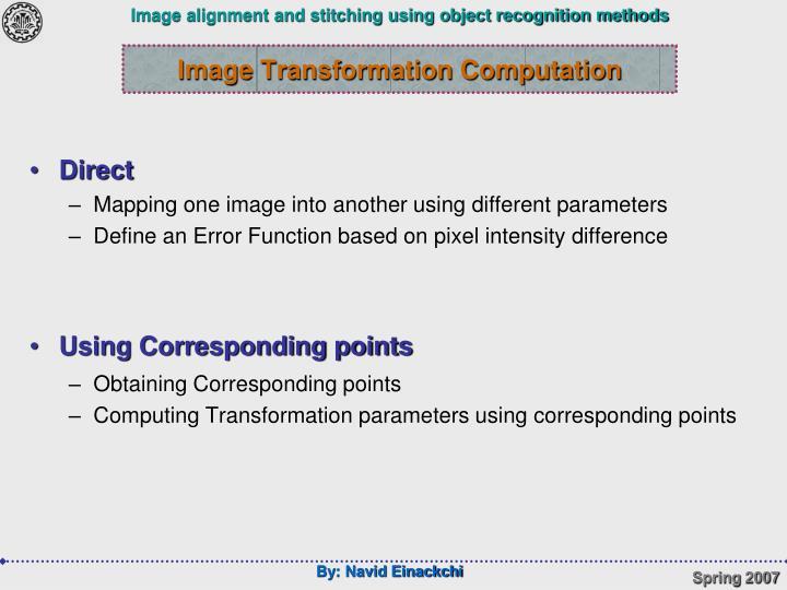 Image Transformation Computation
