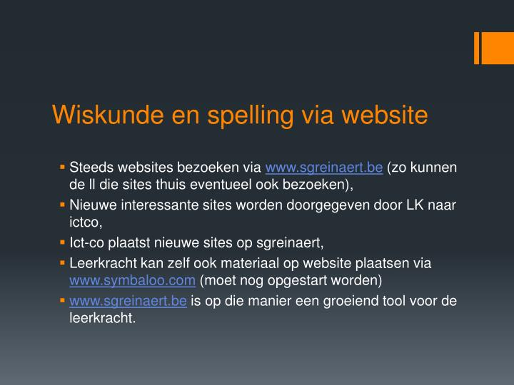 Wiskunde en spelling via website