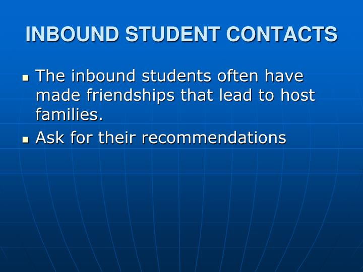 INBOUND STUDENT CONTACTS