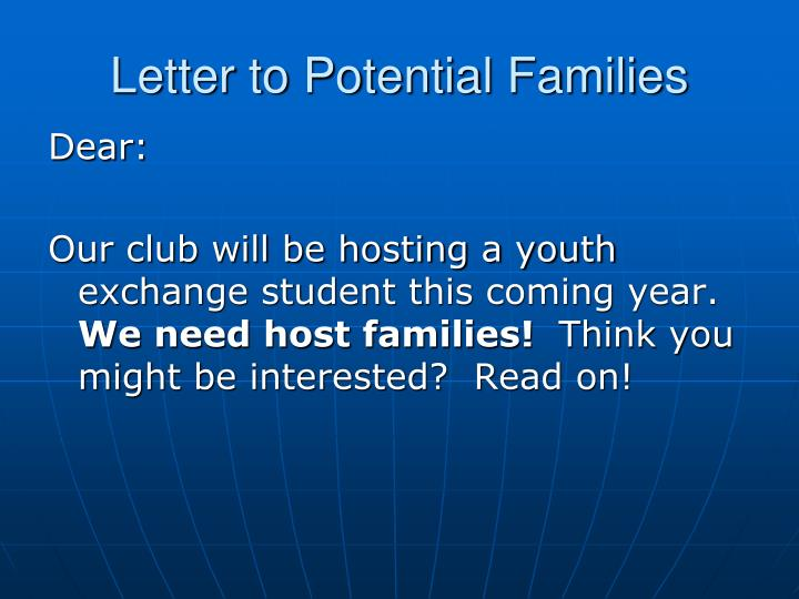 Letter to Potential Families