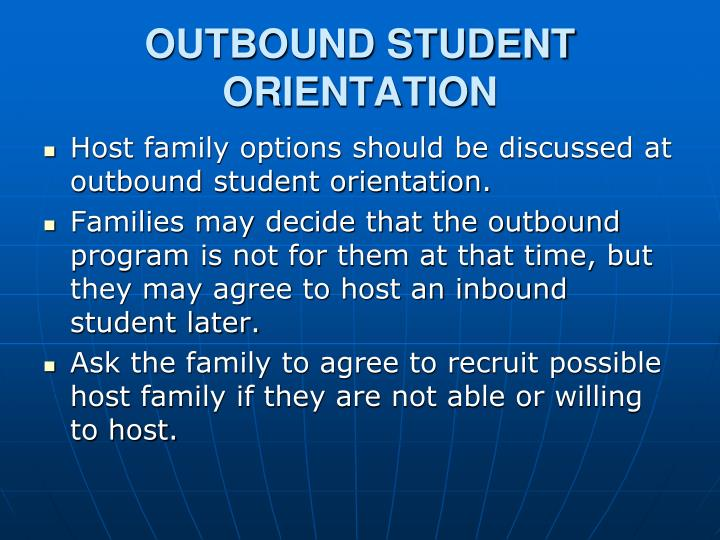 OUTBOUND STUDENT ORIENTATION