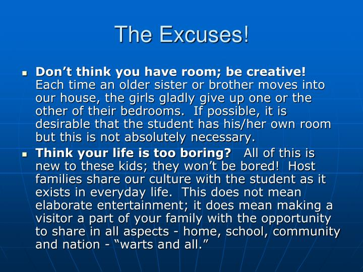 The Excuses!