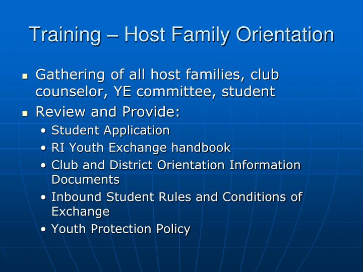Training – Host Family Orientation