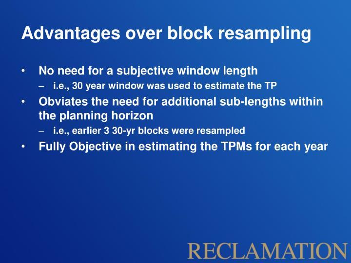 Advantages over block resampling