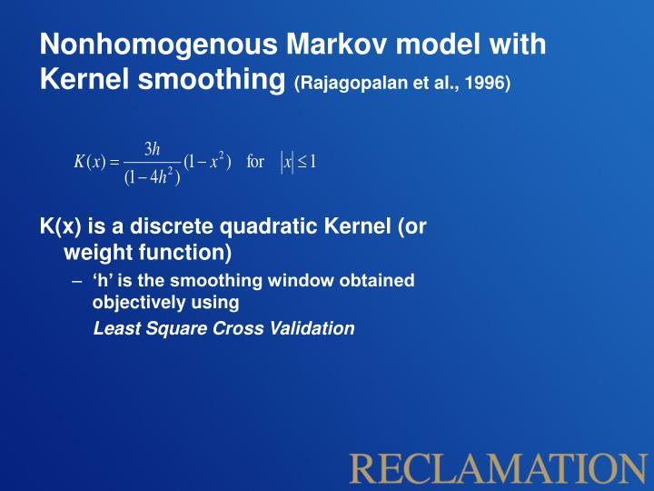Nonhomogenous Markov model with Kernel smoothing