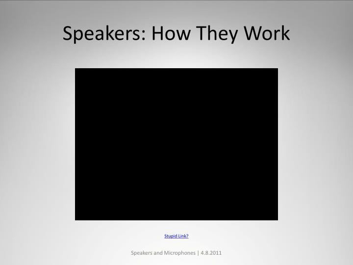 Speakers how they work