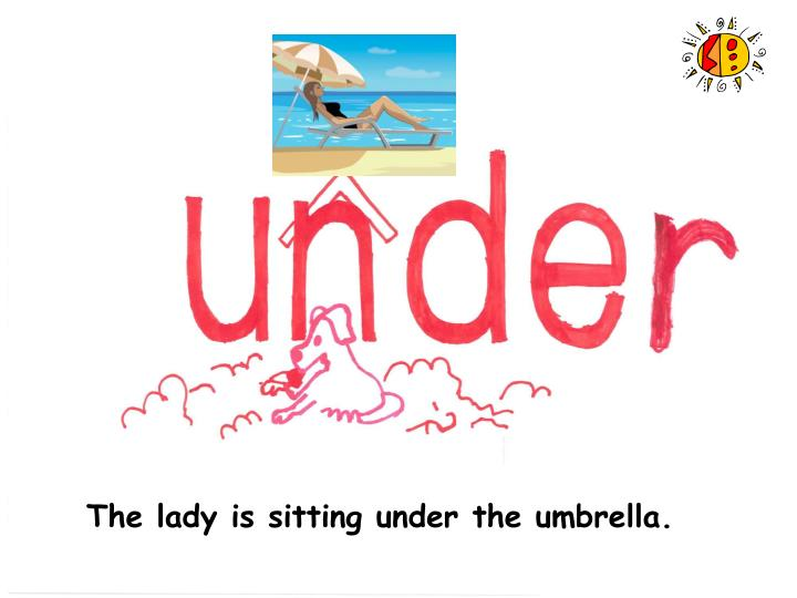 The lady is sitting under the umbrella.