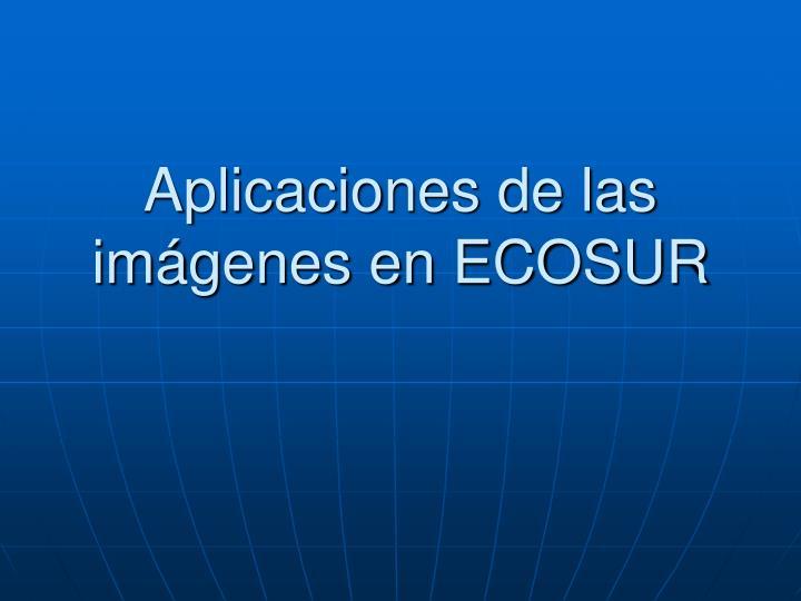 Aplicaciones de las imágenes en ECOSUR