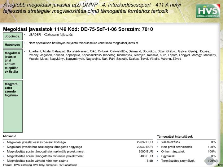 Megoldási javaslatok 11/49 Kód: DD-75-SzF-1-06 Sorszám: 7010