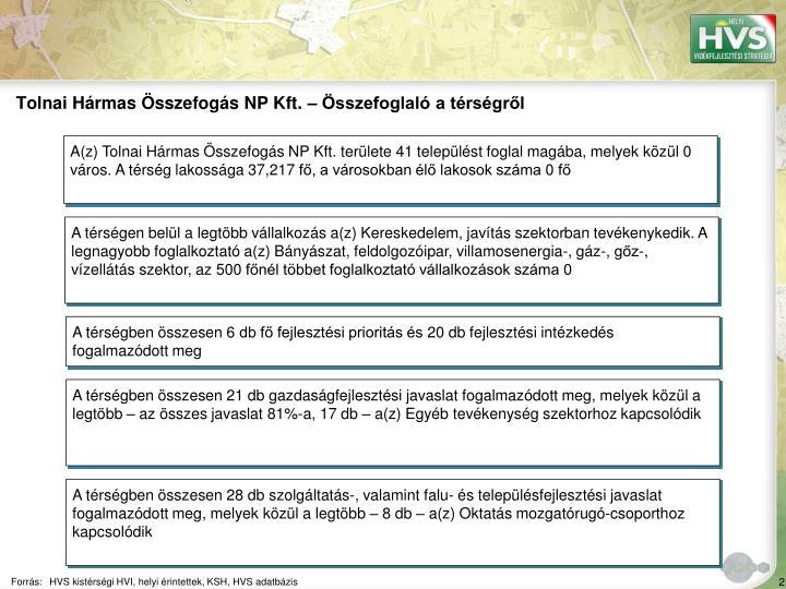 Tolnai Hármas Összefogás NP Kft. – Összefoglaló a térségről