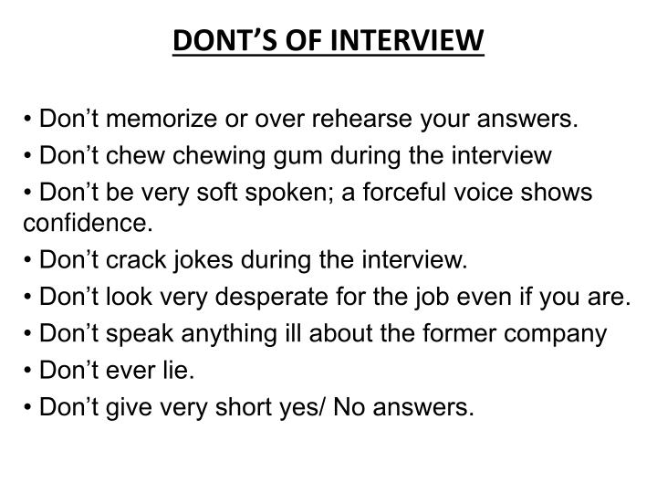 DONT'S OF INTERVIEW