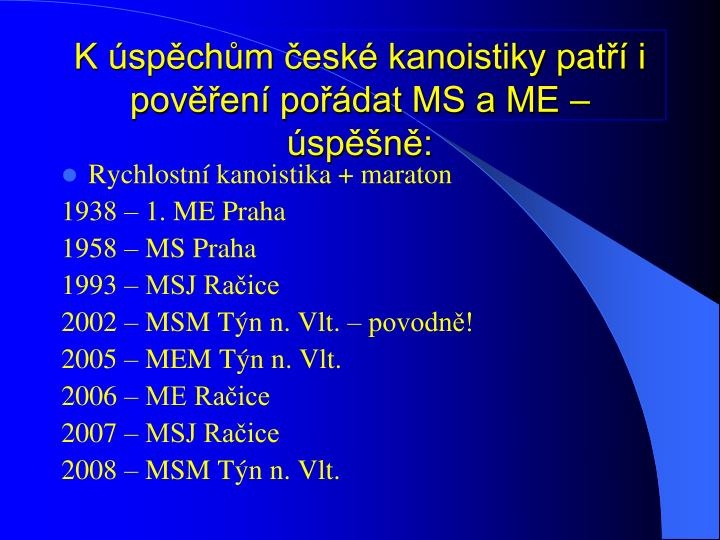K spchm esk kanoistiky pat i poven podat MS a ME  spn: