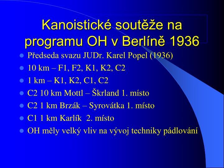 Kanoistick soute na programu OH v Berln 1936