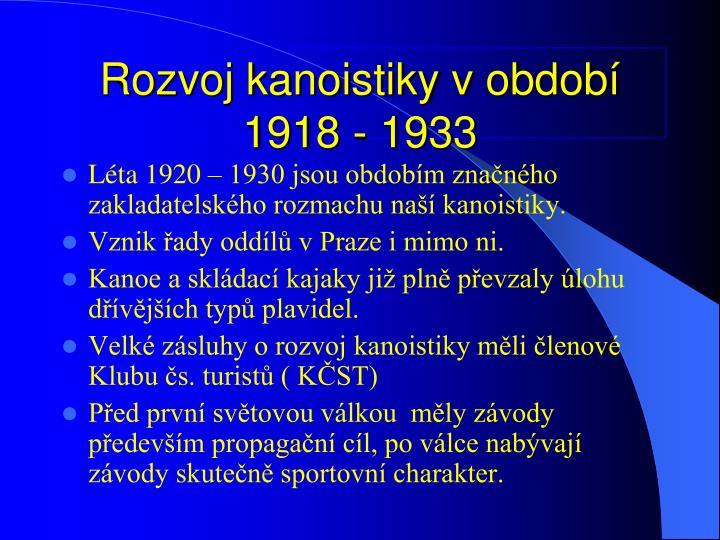 Rozvoj kanoistiky v obdob 1918 - 1933