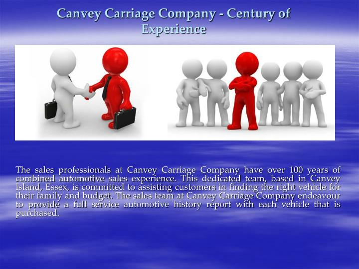 Canvey carriage company century of experience