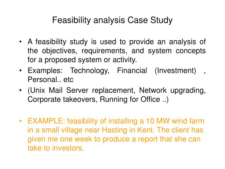 Feasibility analysis Case Study