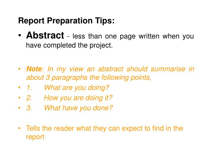 Report Preparation Tips: