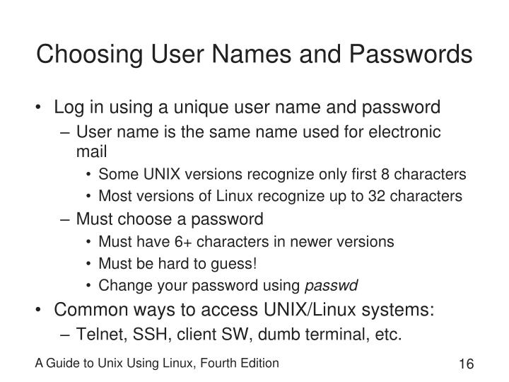 Choosing User Names and Passwords