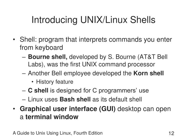 Introducing UNIX/Linux Shells