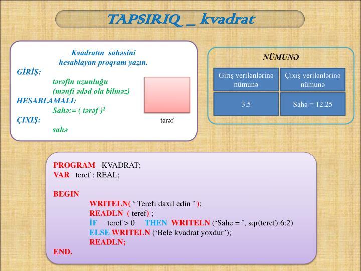 TAPSIRIQ  _ kvadrat