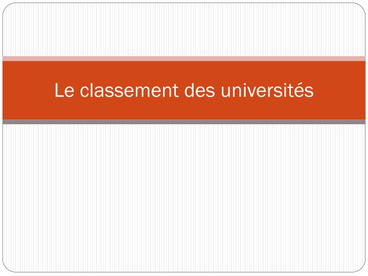 Le classement des universits