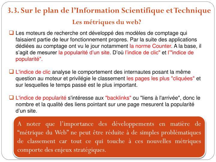 3.3. Sur le plan de lInformation Scientifique et Technique