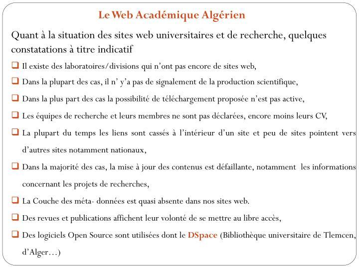 Le Web Acadmique Algrien