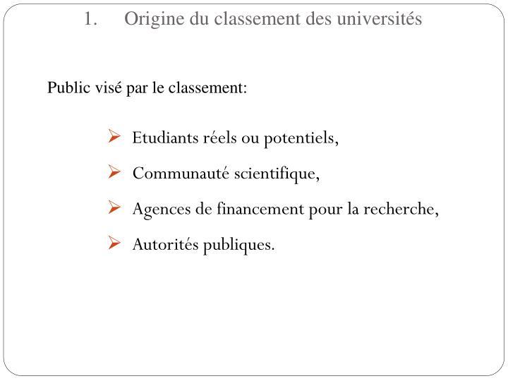 Origine du classement des universits