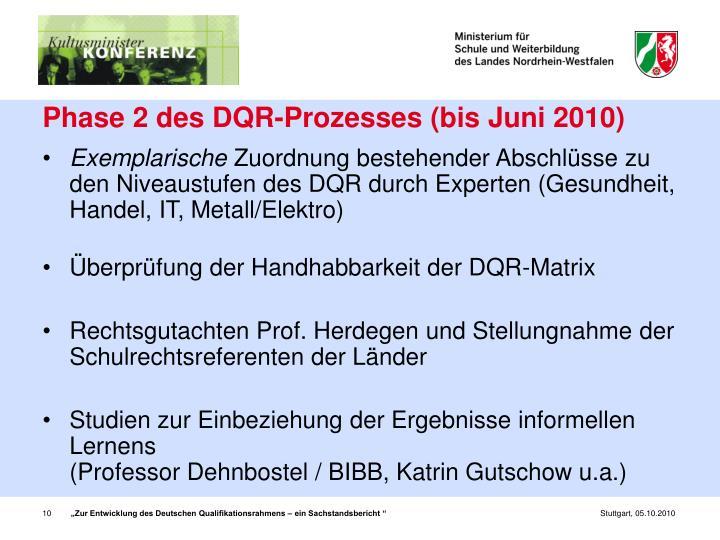 Phase 2 des DQR-Prozesses (bis Juni 2010)