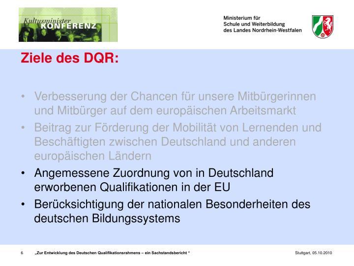 Ziele des DQR: