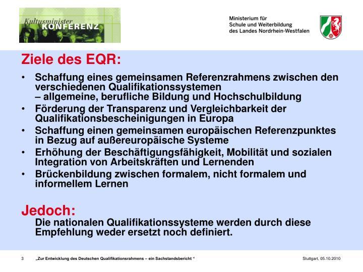 Ziele des EQR: