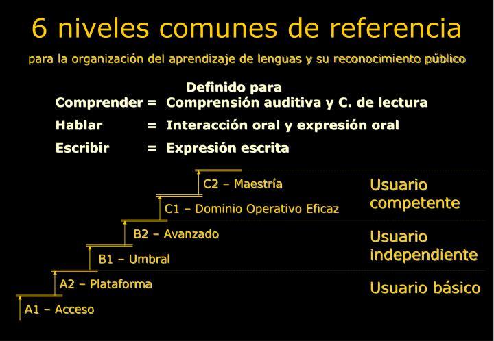 6 niveles comunes de referencia