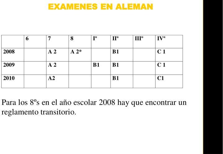 EXAMENES EN ALEMAN