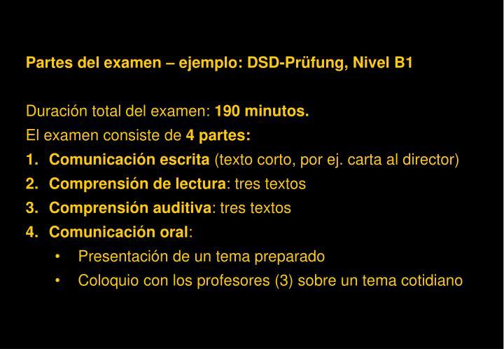 Partes del examen