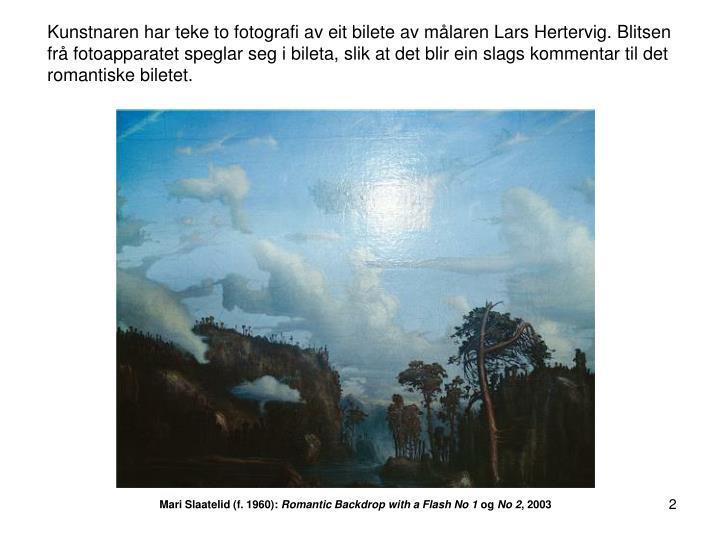 Kunstnaren har teke to fotografi av eit bilete av målaren Lars Hertervig. Blitsen frå fotoapparatet speglar seg i bileta, slik at det blir ein slags kommentar til det romantiske biletet.