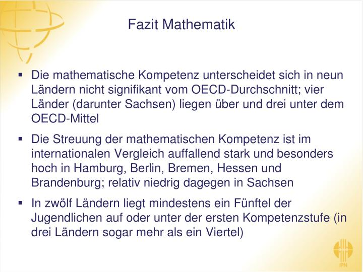 Fazit Mathematik